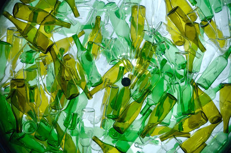 A lot of green pet plastic bottles
